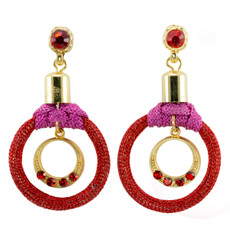 Anat Jewelry Red Hoop Shabby Chic Earrings