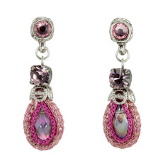 Anat Jewelry Pink Crystal Fashion Net Earrings