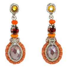 Orange Crystal Fashion Net earrings from Anat Jewelry