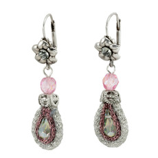 Pink Anat Jewelry Silver Blossom Nouveau Glam Earrings