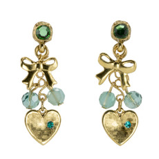 Anat Jewelry Gold and Green Sweetheart Round Motion Earrings
