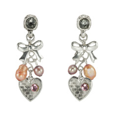 Anat Collection Silver and Pink Sweetheart Nouveau Glam Earrings