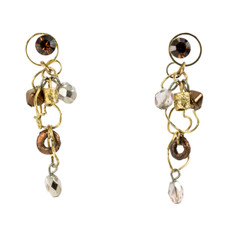 Anat Jewelry Brown and Gold  Earrings