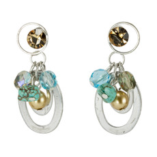 Anat Jewelry Silver and Blue Disc Earrings