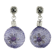 Anat Collection Purple Flower Fashion Net Earrings