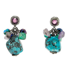 Anat Jewelry Turquoise Post Paris Chic Turq purple Earrings