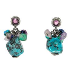 Anat Jewelry Turquoise Post Paris Chic Turq purple Earrings