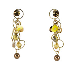 Mint Anat Jewelry Yellow amd Brown Paris Chic Earrings