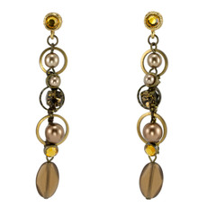 Brown and Yellow Circles  earrings from Anat Jewelry