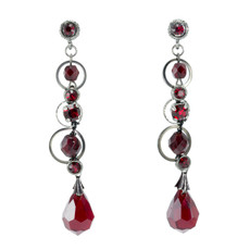 Anat Collection Red and Grey Circles  Earrings