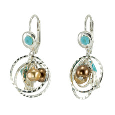 Anat Jewelry Encompass Brown and Teal  Earrings