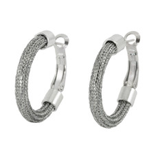 Silver Hoop Round Motion earrings from Anat Jewelry