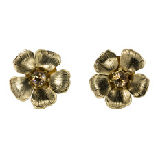 Anat Collection Earrings Gold Amaryllis Clip-on Sterling Perfection