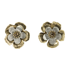 Anat Jewelry Gold and Silver Amaryllis Clip-on Sterling Perfection Earrings