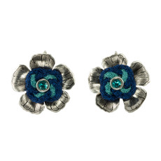 Anat Jewelry Silver Blue Amaryllis Sterling Perfection Earrings