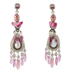 Anat Jewelry Chandelier Pink Nouveau Glam Earrings
