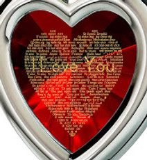 Red Inspirational Jewelry Silver Framed Heart I Love You in 120 Languages Necklace
