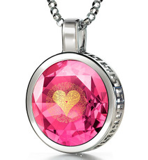 Pink Silver Circle I Love You in 120 Languages necklace from Inspirational Jewelry