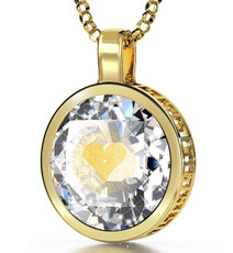 Clear Inspirational Jewelry Gold Circle I Love You in 120 Languages Necklace