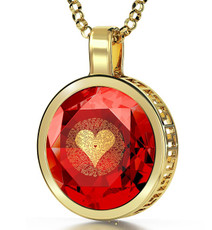 Nano Jewelry Red Gold Circle I Love You in 120 Languages Necklace