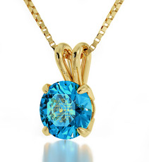 Teal Inspirational Jewelry Gold I Love You in 12 Languages Necklace
