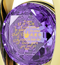 Purple Diana Gold I Love You in 12 Languages necklace from Inspirational Jewelry