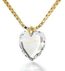 Inspirational Jewelry I Love You Crystal Heart Clear Necklace