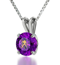 Purple Inspirational Jewelry Silver Aquarius Necklace