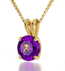 Purple Inspirational Jewelry Gold Aquarius Necklace