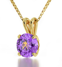 Inspirational Jewelry Violet Necklace Gold Aquarius