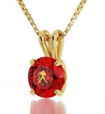 Inspirational Jewelry Gold Aquarius Red Necklace