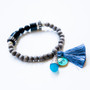 7Stitches Kabbalah Protection and steel blue Tassel Bracelet