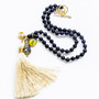 7Stitches Ebony Wood with cream tassel and Crystal Kabbalah Necklace