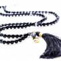 7Stitches Onyx Mala with silk tassel and Kabbalah protection charm