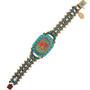 Michal Negrin Classic Printed Rose Turquoise Swarovski Crystals Bracelet
