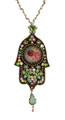 Hamsa Hand Necklace From Michal Negrin Classic Collection - Multi Color