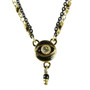 Michal Golan Evil Eye - Black, Eye Pendant With Single Dangle On Two Colored Chain