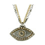 Evil Eye Necklace - Gray, Medium Eye With Crystal