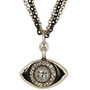 Evil Eye Necklace - Michal Golan Medium, Black Eye With Clear Crystal Center And Triple Chain