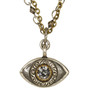 Evil Eye Necklace - Michal Golan Medium, Gray Eye With Clear Crystal Center On Triple Chain