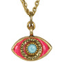 Evil Eye Necklace - Michal Golan Medium, Pink Eye With Blue Crystal Center On Three Stranded Chain