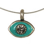 Evil Eye Necklace - Michal Golan Small, Blue Green Eye With Crystal Center On Wire