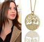 Gold Circle of Life Tree Kabbalah Necklace