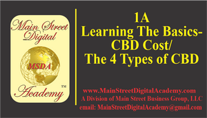 1A-Learning The Basics - CBD Cost/ The 4 Types of CBD - $99.95 Value!