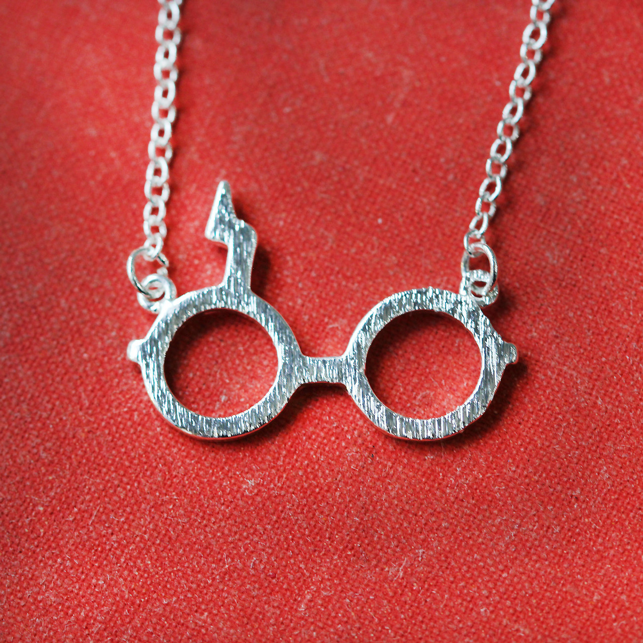 86eff27d47f01 Silver and Gold Plated Harry Potter Glasses and Scar Necklace