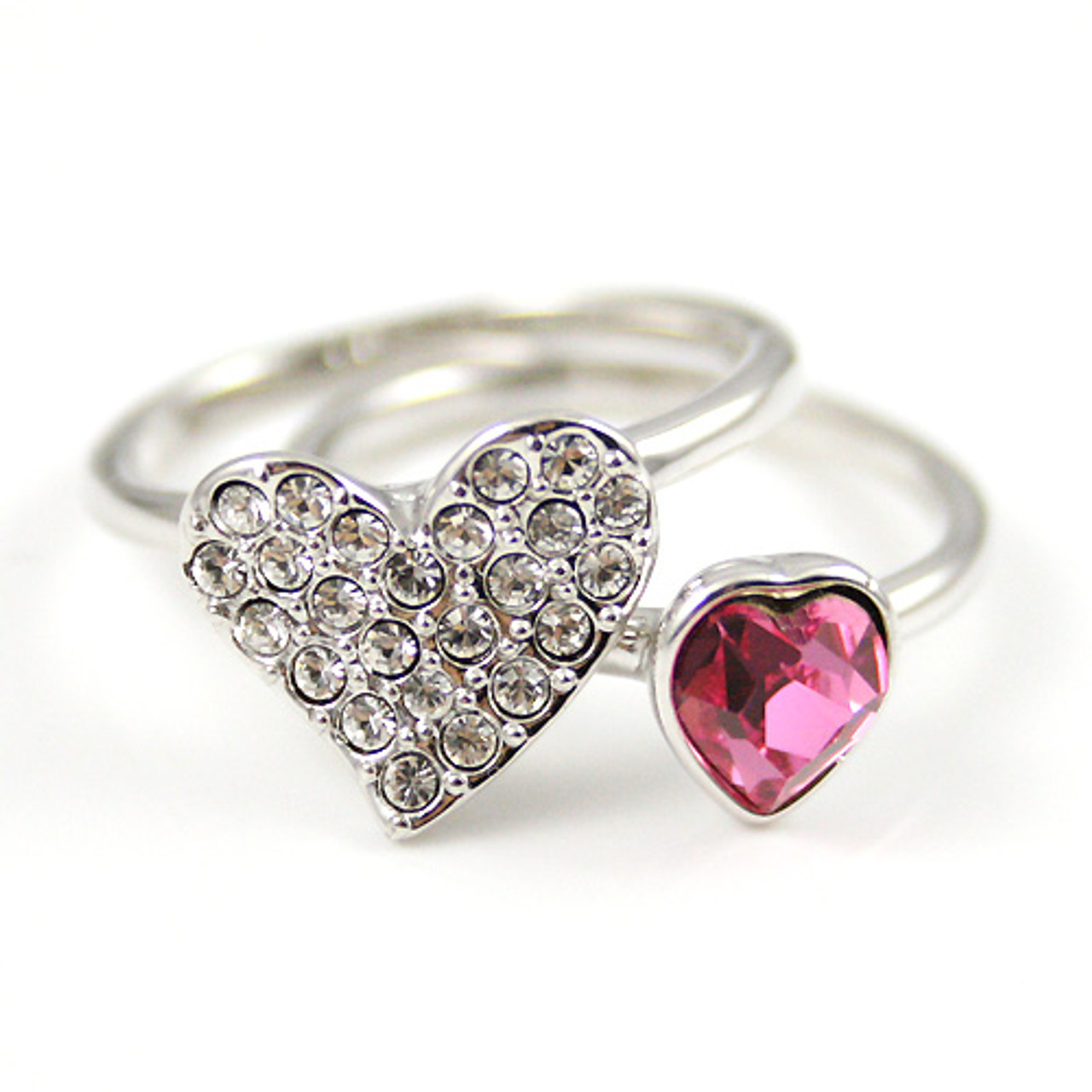 8bcabc7a89b25 Rose Pink Heart Stacking Rings Made with Swarovski Elements Diamante