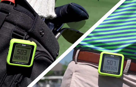 Bushnell Golf Phantom handheld GPS showcased on golf bag and on belt buckle.