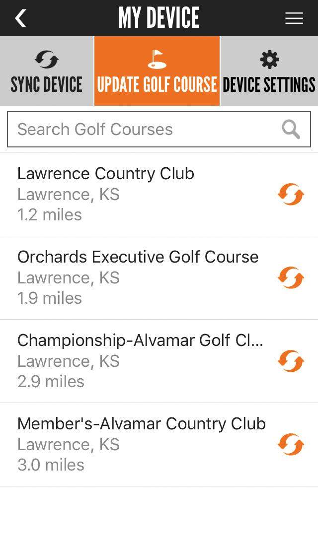 Bushnell Golf app showing golf courses selection screen.