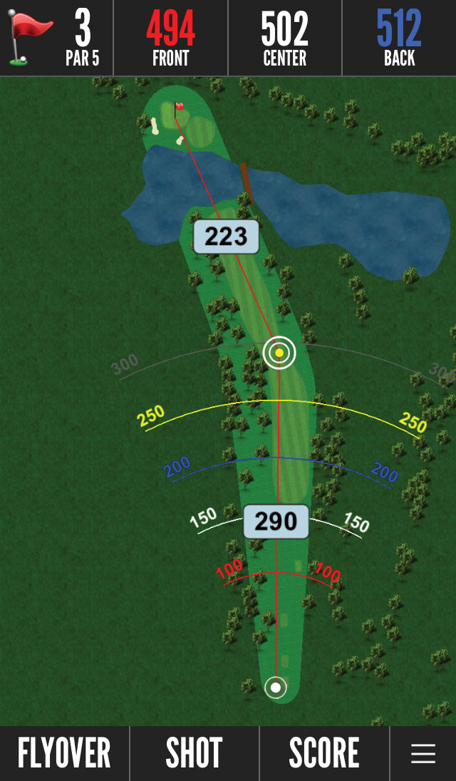 Bushnell Golf app showing par 5 hole from aerial view and optimal distances.