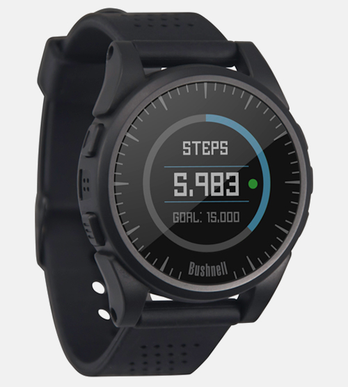 Bushnell Golf Excel GPS watch face with integrated step counter.